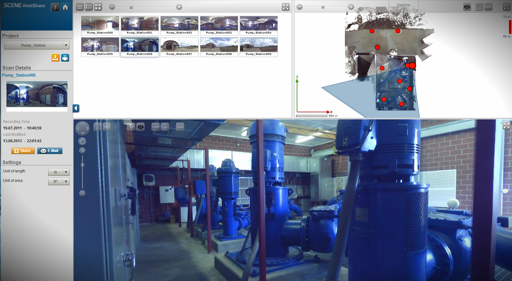 SCENE WebShare screen capture of piping facility, pump house