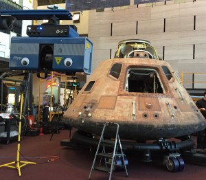 Creating the 3D scan of the Apollo 11 command module Columbia. Courtesy Smithsonian Digitization Program Office.