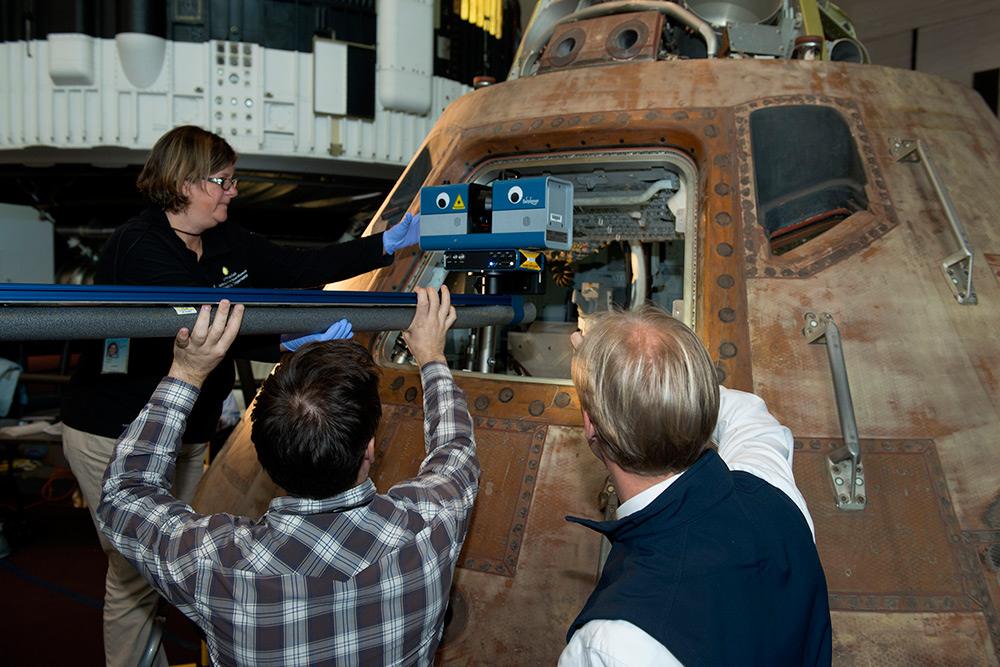 A closer look at creating the 3D scan of the Columbia command module. Courtesy Smithsonian Digitization Program Office.