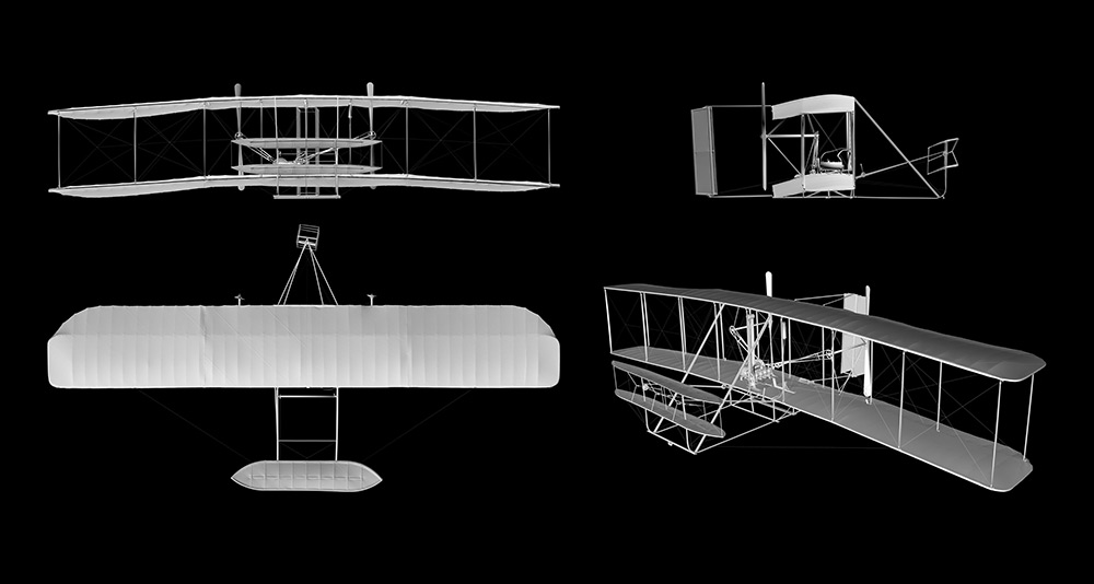 A 3D scan of the Wright Flyer, National Air and Space Museum. Courtesy Smithsonian Digitization Program Office.